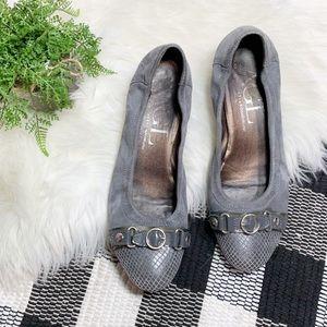 AGL Mini Wedge Ballet Shoes Gray cap toe Suede